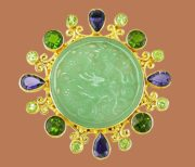 Fabulous multicolor stones brooch by Sajen