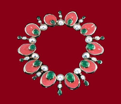 Faux Coral and pearl necklace. Tony Duquette and Hutton Wilkinson jewellery