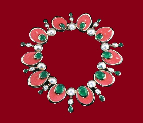 Faux Coral and pearl necklace. Tony Duquette and Hutton Wilkinson costume jewellery