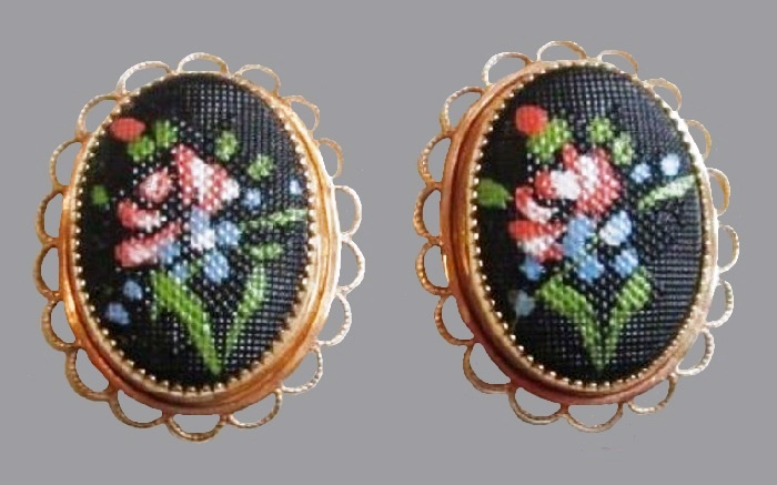 Faux embroidery Victorian style earrings