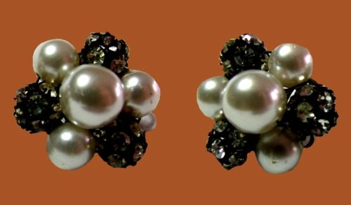 Faux pearl and rhinestone cluster ball earrings