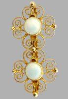 Filigree sterling silver gilded enamel brooch