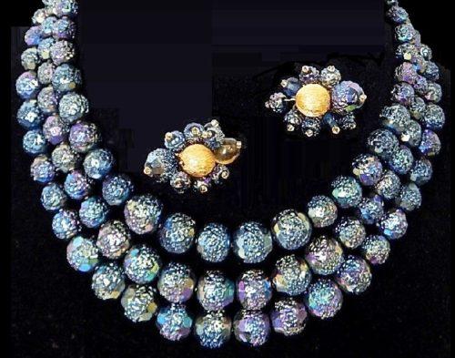 Fine Costume Bead Necklace Earrings Set Blue aurora borealis