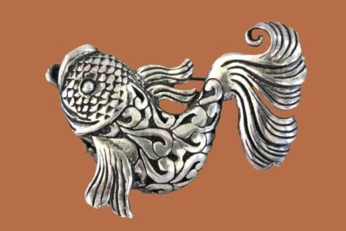 Fish brooch, sterling silver