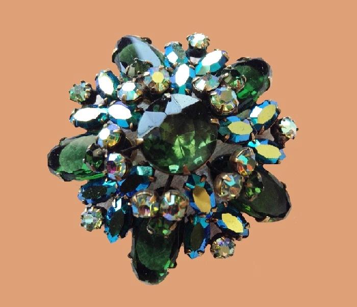Floral brooch, shades of green rhinestones brooch