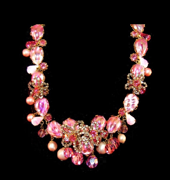Floral necklace, Opal Foiled Art Glass, pink cabochons, faux pearl