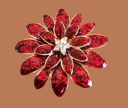 Flower brooch, gold tone metal, red enamel