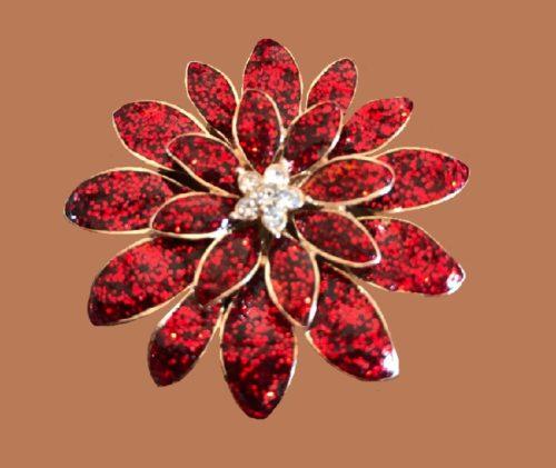 Flower brooch, gold tone metal, red enamel