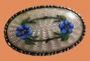 Flower garland silver enamel brooch
