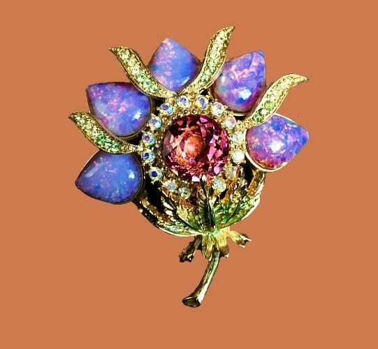 Blue Flower vintage brooch. jewelry alloy, crystal rhinestones, gilding, Ethiopian cabochon opal, glass cabochon. 7 cm