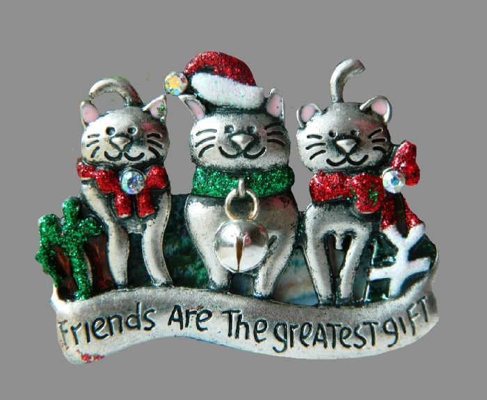 Friends are the greatest gift. Jewelry alloy, enamel. 6 cm