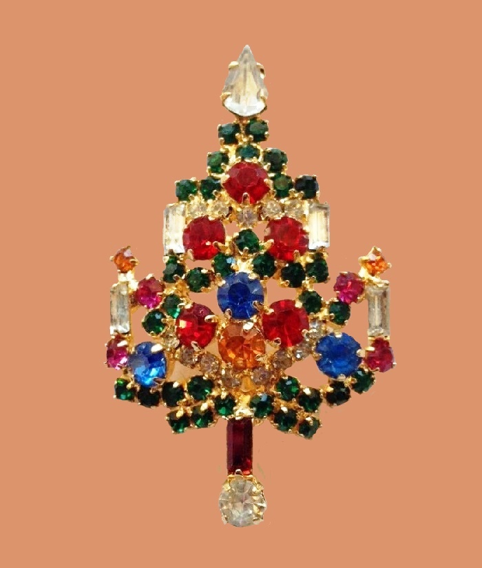 From the series of Christmas tree brooches. Color rhinestone brooch
