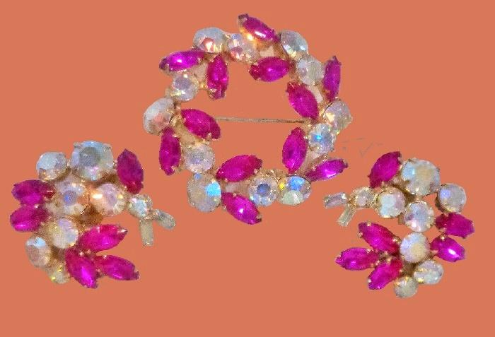 Fuchsia Rhinestone Goldtone Brooch and earrings