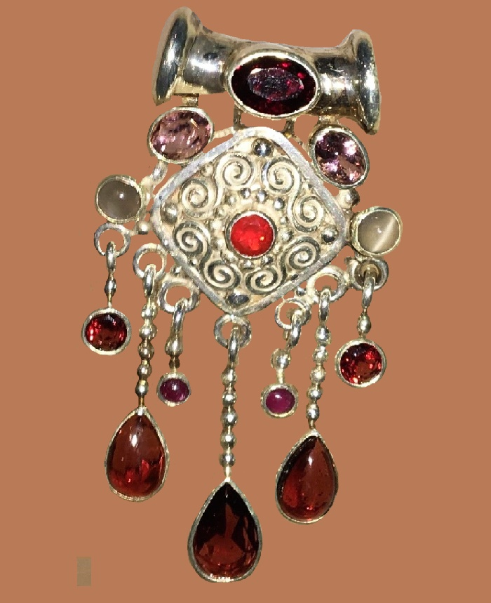 Garnet, Pink Tourmaline and moonstone cats eye Pendant