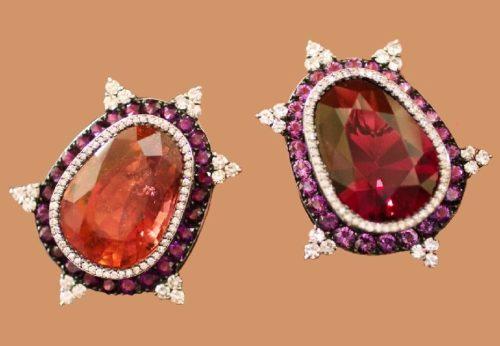 Garnets, Tourmaline, Amethysts and Diamonds earrings