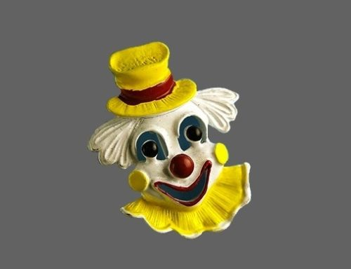 Gerry's yellow clown brooch. 1960s