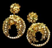 Gilt Filigree Earrings Art Glass Rhinestone