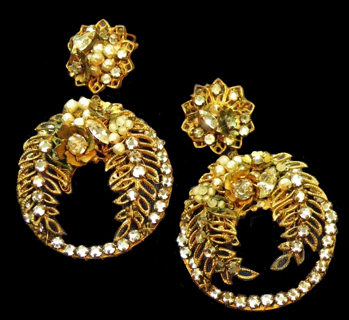 Gilt Filigree Earrings Art Glass Rhinestone