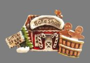 Gingebread shop, Christmas theme brooch
