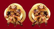 Gold Tone Amber Rhinestone Clip On Earrings