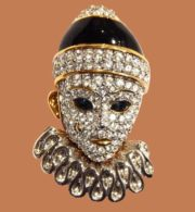 Gold, silver, rhinestone clown brooch