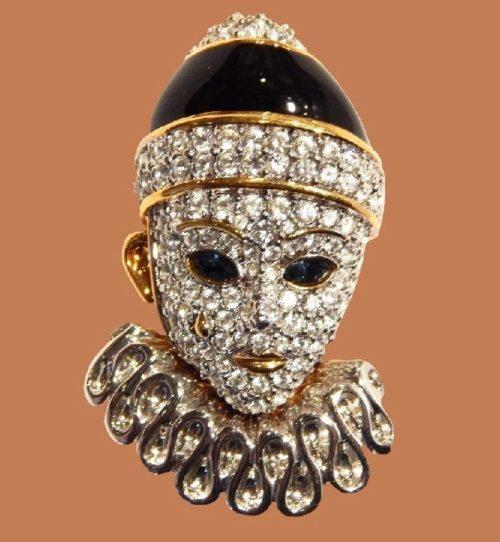 Gold, silver, rhinestone clown brooch