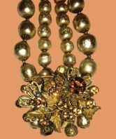 Gold tone metal, Citrine, Topaz and Foiled Beads Choker Necklace. Signed DeMario NY