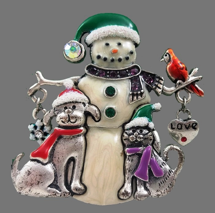 Gorgeous Snowman brooch. Silver tone metal, enamel