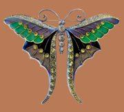Gorgeous butterfly brooch, vintage. Jewellery alloy, rhinestones, silver