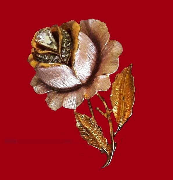 Gorgeous pink rose brooch. Enamel, rhinestones, jewelry alloy