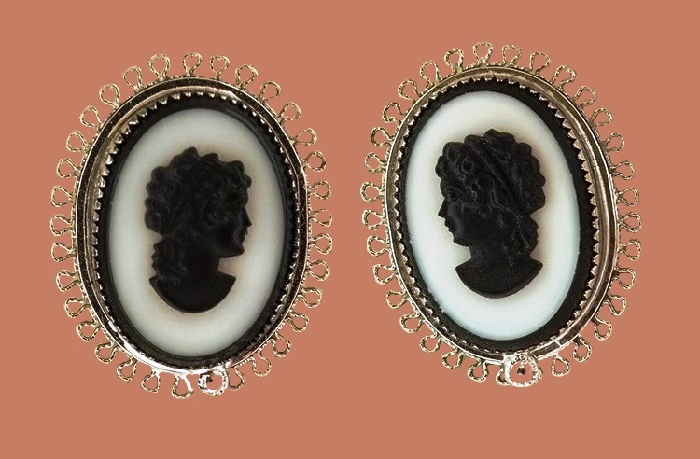 Greek goddess clips. 925 silver, rhodium plating, inset - elegant cameo made from celluloid. Handwork. 1960s Marked Amco sterling