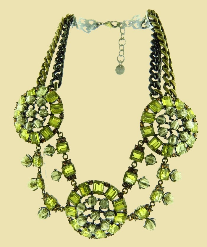 Green Crystal Rhinestone Medallion Statement Necklace