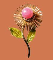Green Enamel Flower Brooch