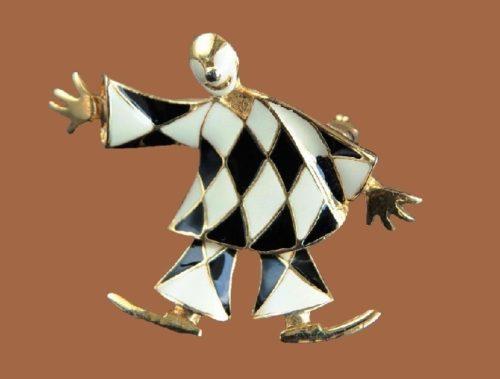 HJ Pierrot brooch. 1980s