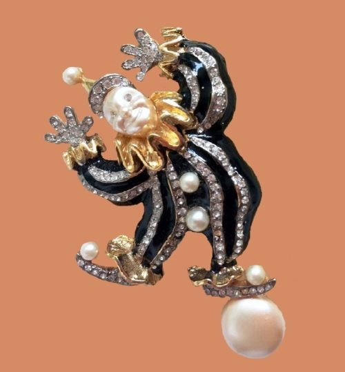 Hattie Carnegie vintage clown brooch