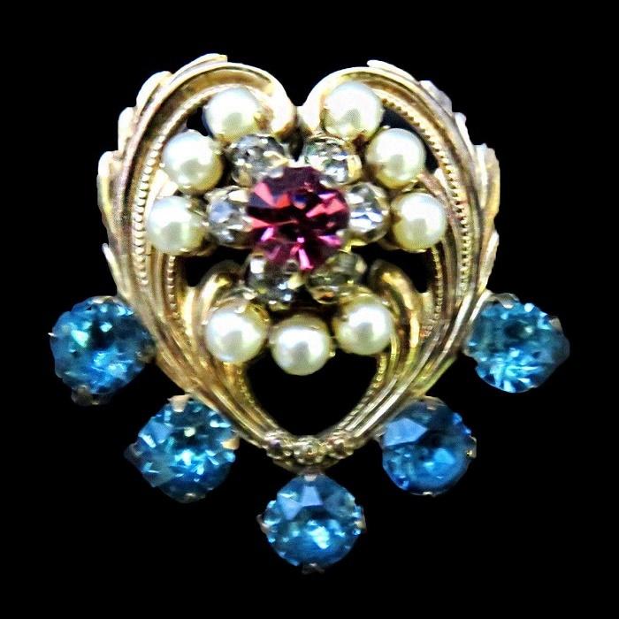 Heart brooch pendant. Rhinestones, pearls, 12 KT gold filled
