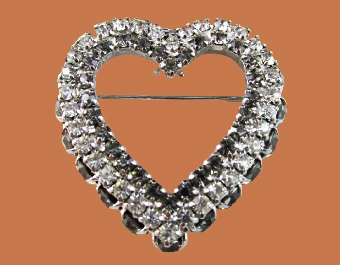 Heart shaped rhinestone brooch. Signed Joseph Warner