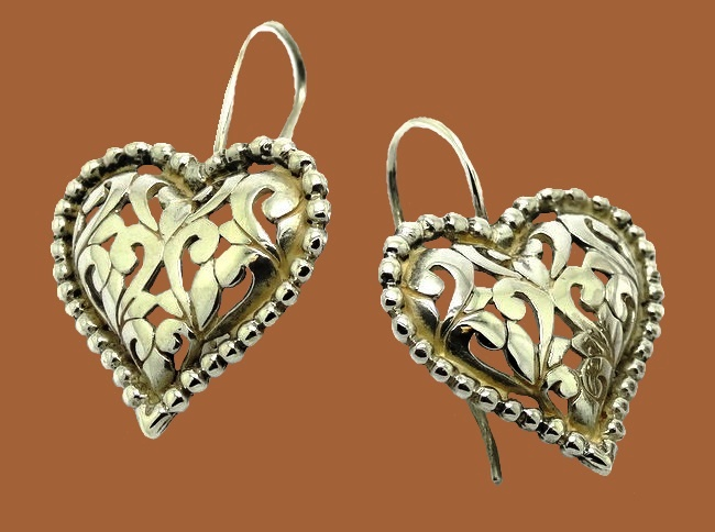 Heart shaped sterling silver earrings