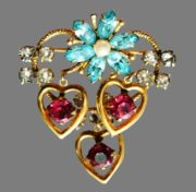Hearts and flowers brooch, vintage 1950s