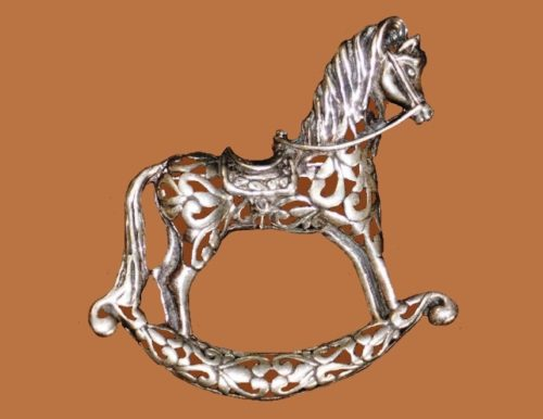Horse brooch, sterling silver, marked Jezlaine