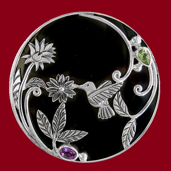 Humming Bird Pin Pendant with Black Shell, Peridot and Amethyst