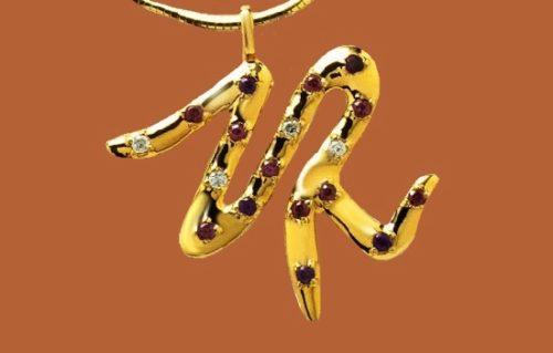 Initial ZR necklace pendant. 9 K gold plated, amethyst, rhodolite, garnet, diamond