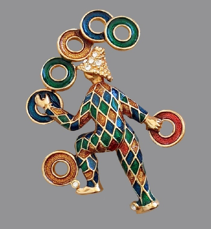 Juggler Clown brooch. Enamel, gold tone metal, crystals