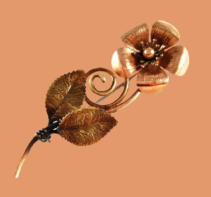 Large flower brooch, 14K gold plated, 1970