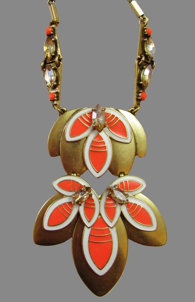 Large necklace. 78 cm, pendant 7.7 cm. Jewelery alloy, coated brass, enamel, rhinestones