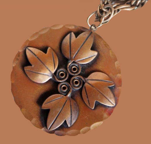 Leaf ornament pendant, vintage handmade copper jewellery