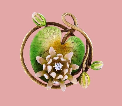 Lily Pad Art Nouveau brooch. Enamel, Diamond and Gold