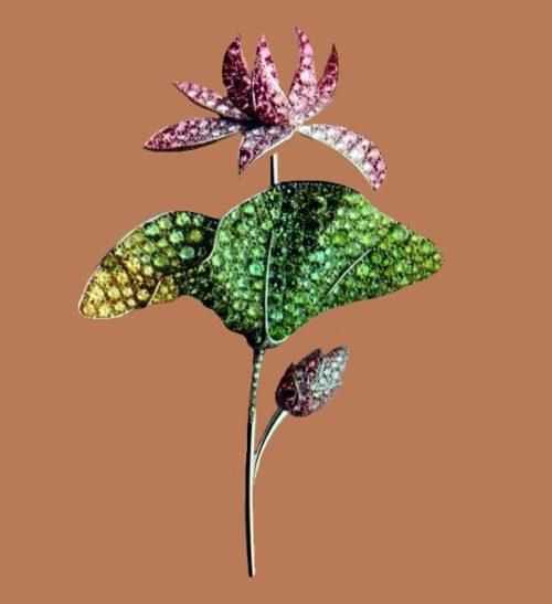 Lotus flower brooch. Pink diamonds, leaves and stem - demantoid garnets and yellow diamonds