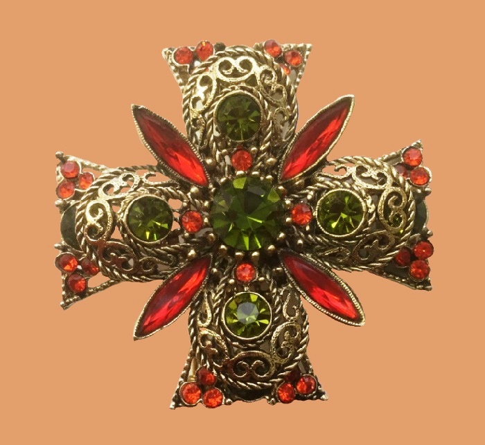 Maltese cross brooch, 1960. jewelery alloy, metal, rhinestones, crystal, filigree