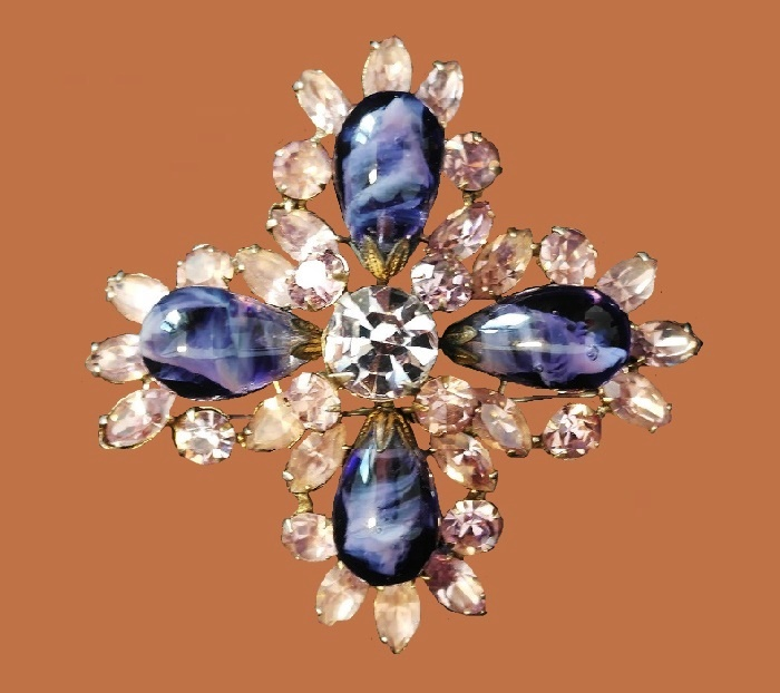 Maltese cross brooch. jewelry alloy, smoky glass, rhinestones. Size 6.5 cm